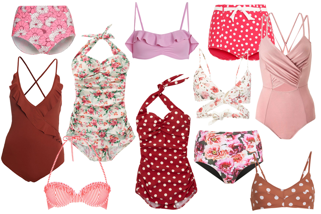 Retromantisch retro romantic fashion blog retro swimwear bikini bathing suit polkadots vintage floral badpak bloemen rood red stripes pink roze Topshop Twintip H&M seafolly modcloth monki top