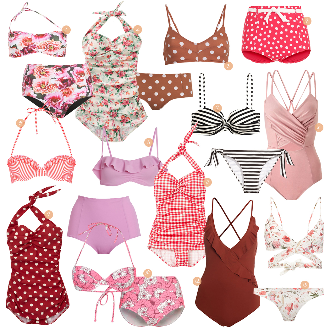 Retromantisch retro romantic fashion blog retro swimwear bikini bathing suit polkadots vintage floral badpak bloemen rood red stripes pink roze Topshop Twintip H&M seafolly modcloth monki