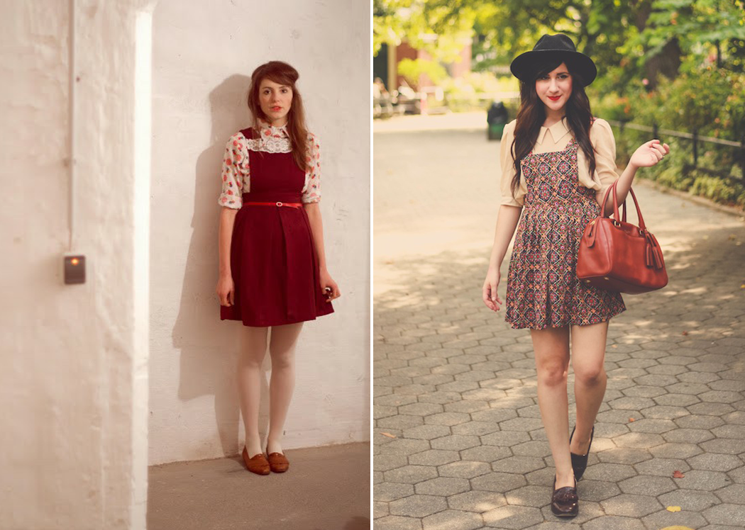 Retromantisch retro romantic fashion blog streetstyle pinafore dresses how to style bloggers flashes of style bonnie