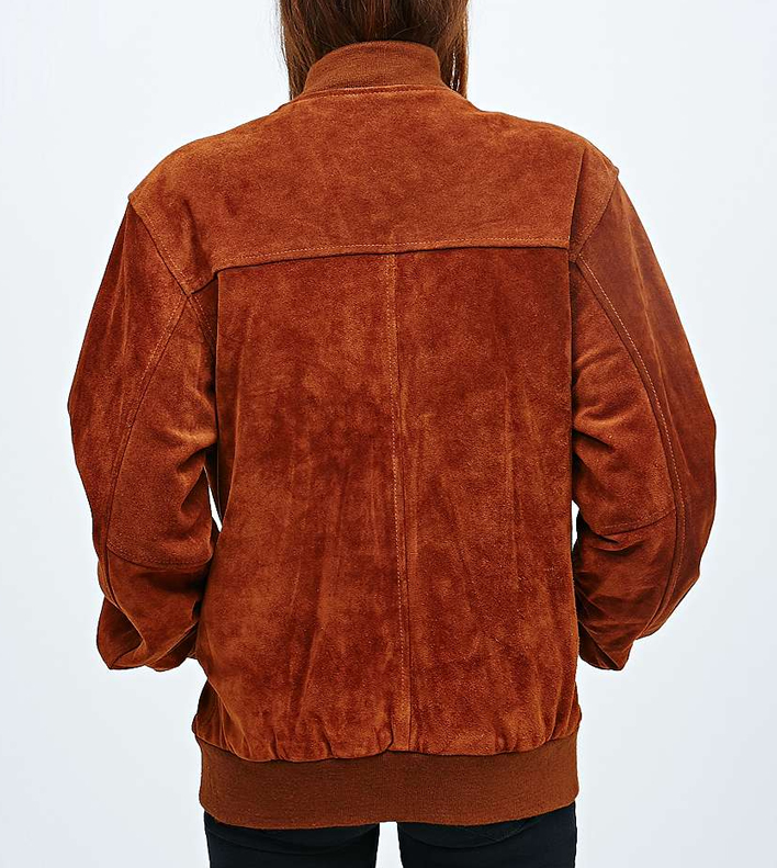 Retromantisch retro romantic fashion blog Urban Outfitters Renewal vintage bomber jack jacket suede brown