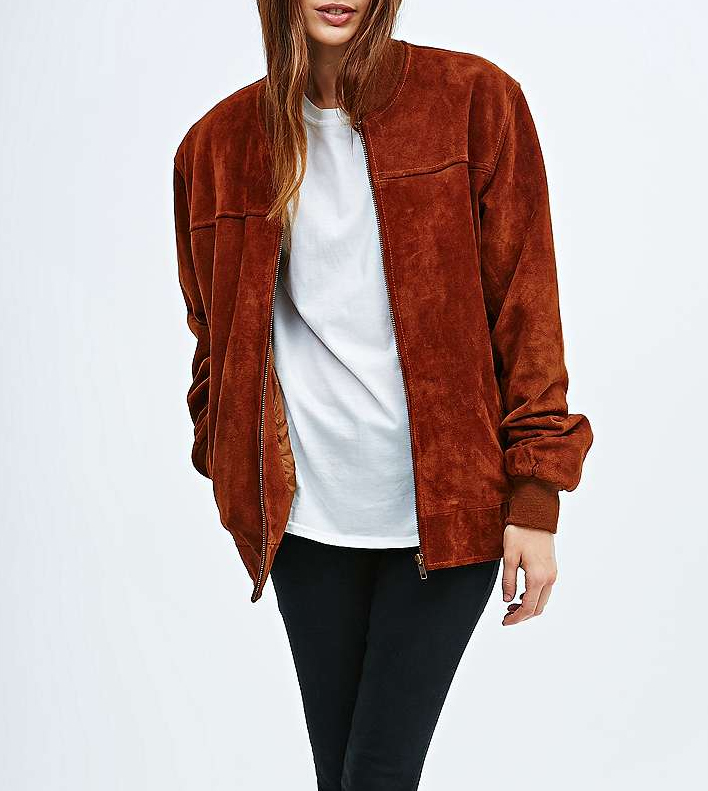 Retromantisch retro romantic fashion blog Urban Outfitters Renewal vintage bomber jacket jack suede brown