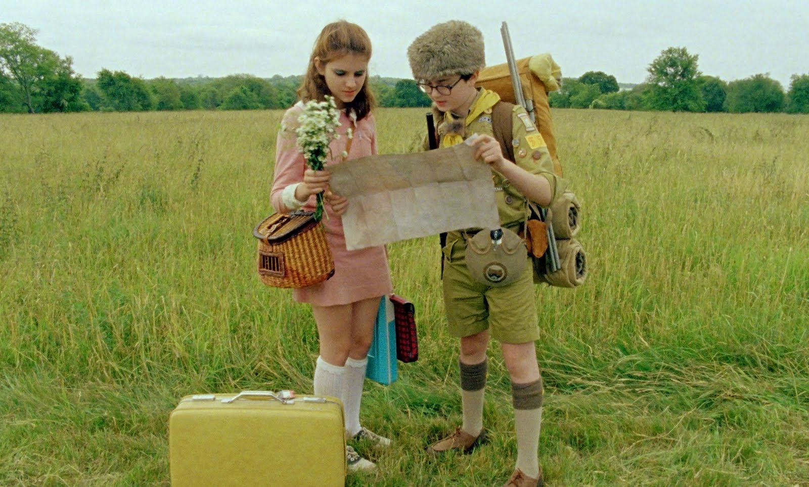 Retromantisch Wes Anderson Moonrise Kingdom Suzy Bishop pink dress collar