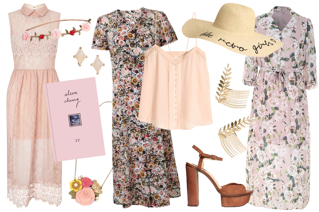 Retromantisch retro romantic fashion blog floral spring vintage style Miss Selfridge Miss Patina H&M alexa chung hat dress heel