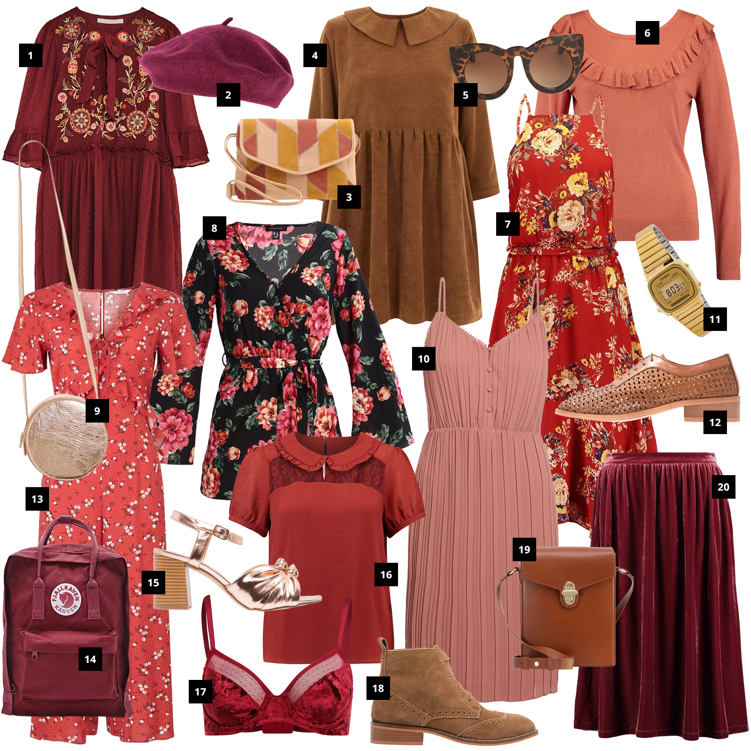 Retromantisch burgundy wishlist retro romantic look outfit dress fashion blog floral casio jumpsuit watch mint and berry zalando velvet fjallraven kanken