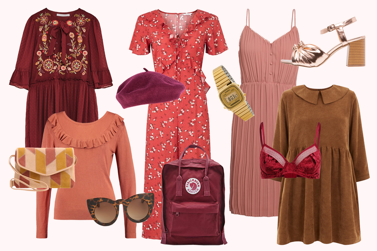 Retromantisch burgundy wishlist retro romantic look outfit dress fashion blog floral casio vjallraven kanken floral